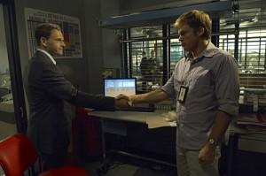 "Jonny Lee Miller and Michael C. Hall in DEXTER - Season 5- ""In the Beginning"" | © 2010 Showtime/Randy Tepper"