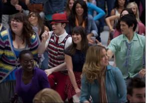 "Ashley Fink, Chris Colfer, Hary Shum Jr. and Lea Michele in GLEE - Season 2 - ""Born This Way"" |©2011 Fox/Adam Rose"