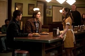 "Jensen Ackles, Jared Padalecki and Julia Maxwell in SUPERNATURAL - Season 6 - ""Mommy Dearest"" | ©2011 The CW/Jack Rowand"