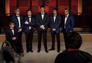 "Kevin McHale, Chrod Overstreet, Chris Colfer, Cory Monteith, Harry Shum Jr., Mark Salling in GLEE - Season 2 - ""Never Been Kissed"" | ©2010 Fox/Adam Rose"
