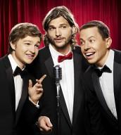 Angus T. Jones, Ashton Kutcher and Jon Cryer in TWO AND A HALF MEN | ©2011 CBS/Warner Bros./Matt Hoyle