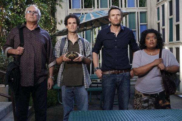 Chevy Chase, David Neher, Joel McHale, Yvette Nicole Brown in