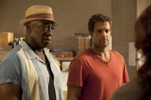 "Geoff Stults and Michael Clarke Duncan in THE FINDER - Season 1 - ""The Boy with the Bucket""   ©2012 Fox/Jennifer Clasen"