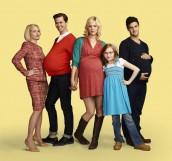 "Ellen Barkin as Jane, Andrew Rannells as Bryan, Georgia King as Goldie, Bebe Wood as Shania, Justin Bartha as David in THE NEW NORMAL - Season 1 - ""Pilot"" | ©2012 NBC/Robert Trachtenberg"