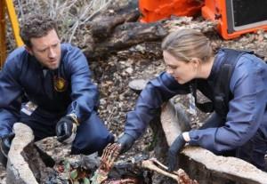 "Emily Deschanel and TJ Thyne in BONES - Season 9 - ""The High in the Low"" | ©2014 Fox/Patrick McElhenney"