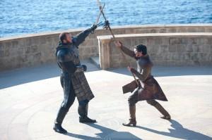"Hafþór Júlíus Björnsson, Pedro Pascal in GAME OF THRONES - Season 4 - ""The Mountain and the Viper""    ©2014 HBO/Macall B. Polay"
