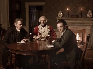 Kevin McNally as Judge Woodhull , Burn Gorman as Major Hewlett and Jamie Bell as Abe Woodhull in TURN - Season 1 | ©2014 AMC/ Frank Ockenfels 3