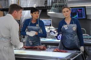 "Michael Grant Terry, Tamara Taylor and Emily Deschanel in BONES - Season 10 - ""The Mutilation of the Master Manipulator""   ©2014 Fox/Ray Mickshaw"