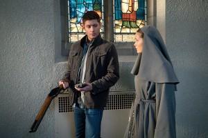 "Jensen Ackles as Dean and guest star Rachel Keller as Sister Mathias in SUPERNATURAL ""Paint It Black"" | © 2015 Liane Hentscher/The CW"