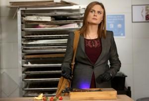 "Brennan (Emily Deschanel) investigates a local bakery in BONES ""The Baker in the Bits"" | © 2015 Jordin Althaus/FOX"