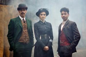 Stephen Mangan as Arthur Conan Doyle, Rebecca Liddiard as Adelaide Stratton and Michael Weston as Harry Houdini in HOUDINI & DOYLE - Season 1 | ©2016 Fox/Joseph Scanlon