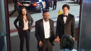 Jon Foo as Detective Jonathan Lee, Aimee Garcia as Didi Diaz and Justin Hires as James Carter in RUSH HOUR | © 2016 CBS