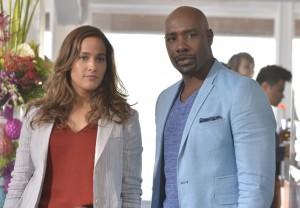 "Jaina Lee Ortiz and Morris Chestnut in ROSEWOOD - Season 2 - ""Boatopsy Booty"" ©2016 Fox/Lisa Rose"
