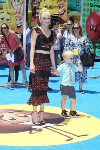 Anna Faris and son at the World Premiere of THE EMOJI MOVIE,