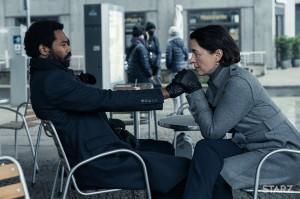 Olivia Williams as Emily Burton Silk and Nicholas Pinnock as Ian Shaw in COUNTERPART   © 2018 Showtime
