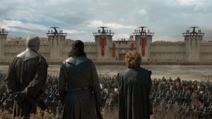 """Liam Cunningham, Kit Harington, Peter Dinklage in GAME OF THRONES - Season 8 - """"The Bells""""   ©2019 HBO"""