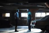 "Carter Hudson as Teddy McDonald, Damson Idris as Franklin Saint in SNOWFALL - Season 3 - ""Confessions"" | ©2019 FX/Ray Mickshaw"