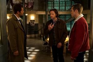 "Misha Collins as Castiel, Jared Padalecki as Sam and Alexander Calvert as Jack in SUPERNATURAL - Season 14 - ""Nihilism""| ©2018 The CW Network, LLC/Shane Harvey"