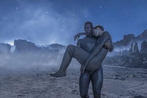 Abubakar Salim and Amanda Collin in RAISED BY WOLVES - Season 1| ©2020 HBO/Coco Van Oppens
