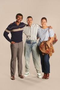 Joseph Lee Anderson as Rocky Johnson, Bradley Constant as Dwayne 15yrs, Stacey Leilua as Ata Johnson in YOUNG ROCK - Season 1   ©2021 NBC/Mark Taylor